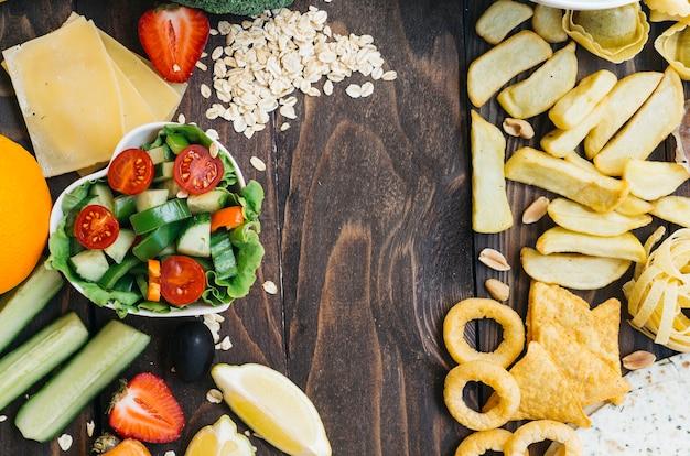 Top view healthy food vs unhealthy food