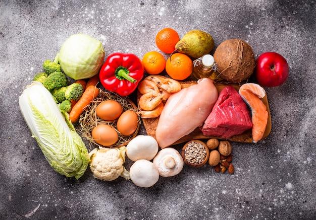 Top view healthy food
