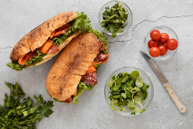 Top view healthy sandwiches composition on cement background