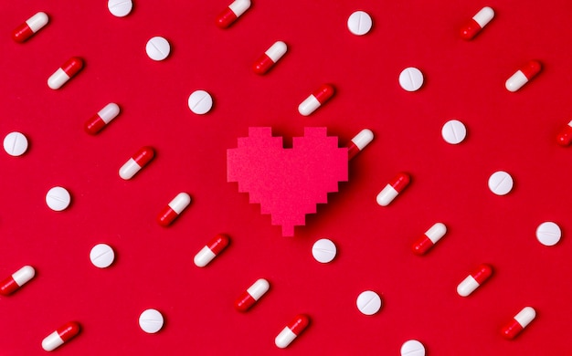 Top view heart day concept with pills
