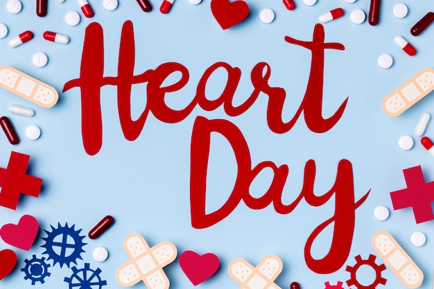Top view heart day lettering concept