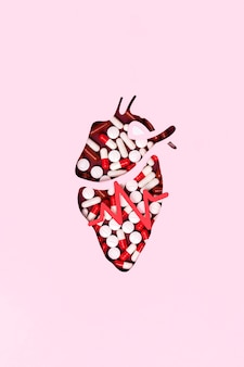 Top view heart made out of pills