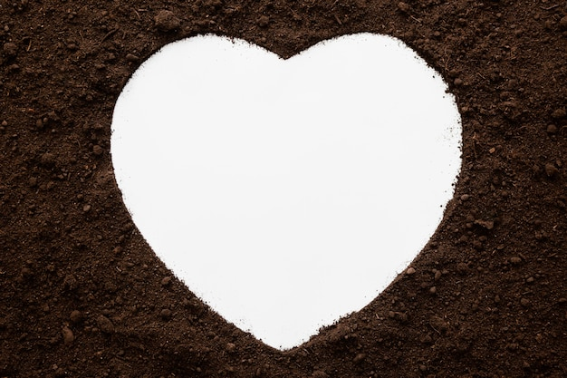 Top view heart shape of natural soil