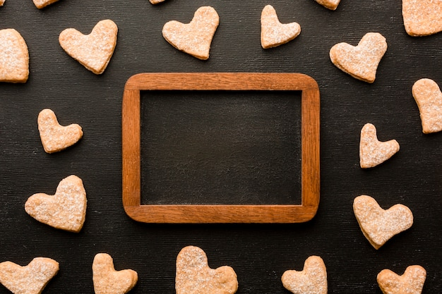 Top view of heart-shaped cookies for valentines day