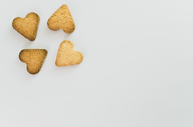 Top view of heart-shaped cookies