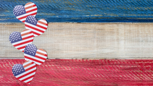 Top view heart shaped usa flags with copy-space