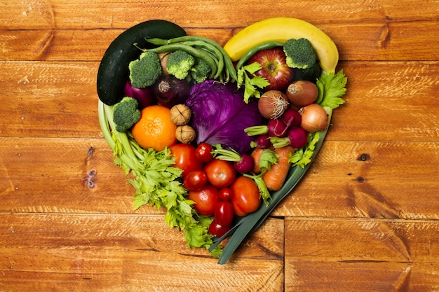 Top view heart shaped vegetable arrangement