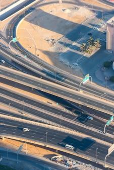 Top view of highway interchange in dubai, uae. morning shot