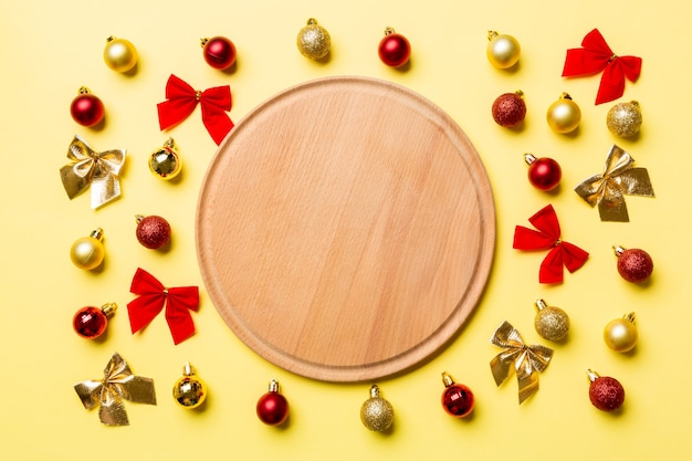 Top view of holiday dinner on colorful surface