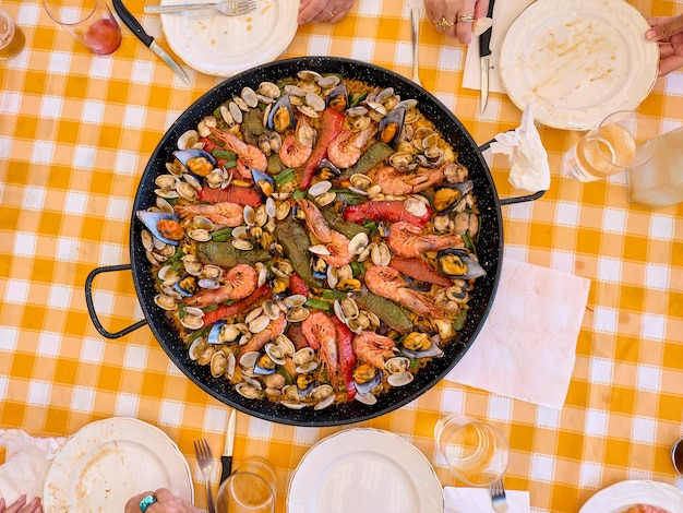 Top view of a home made paella ready to be served