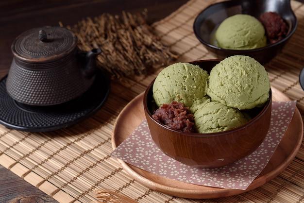 Top view of homemade green tea or matcha ice cream