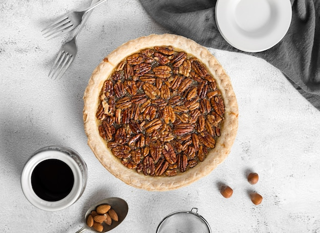 Top view homemade pecan pie on the table