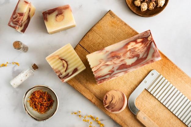 Top view homemade soap arrangement