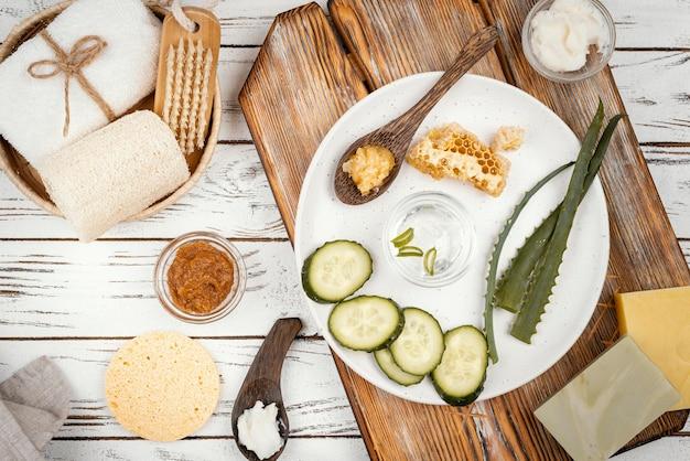 Домашние лечебные ингредиенты, вид сверху