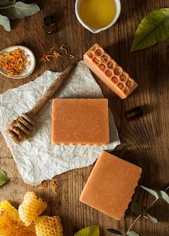 Top view honey comb and soap