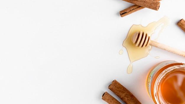Vista dall'alto di miele con spazio di copia