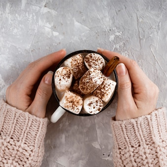 Top view of hot chocolate concept