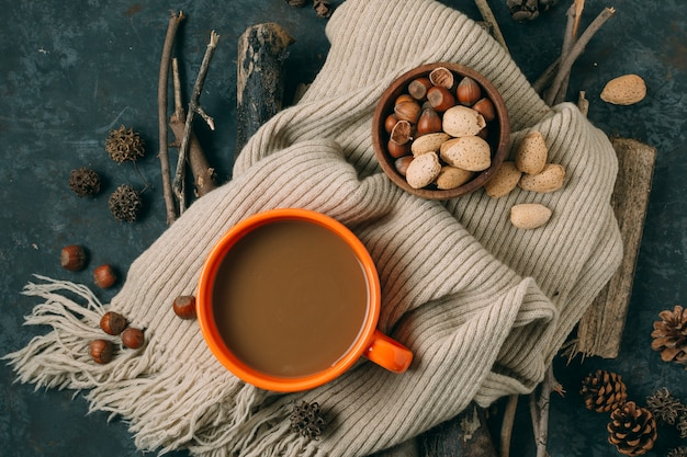 Top view hot chocolate with acorns