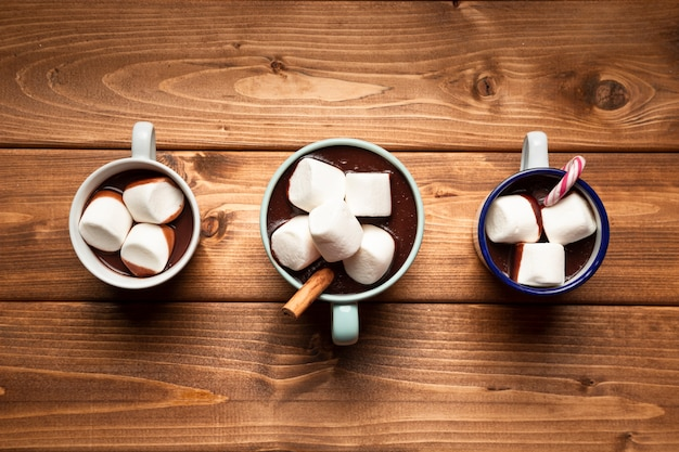 Top view hot chocolate with marshmallows