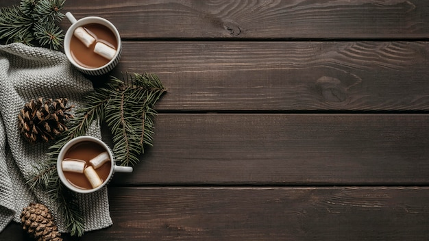 Top view hot chocolate with pine branches, cones and copy-space