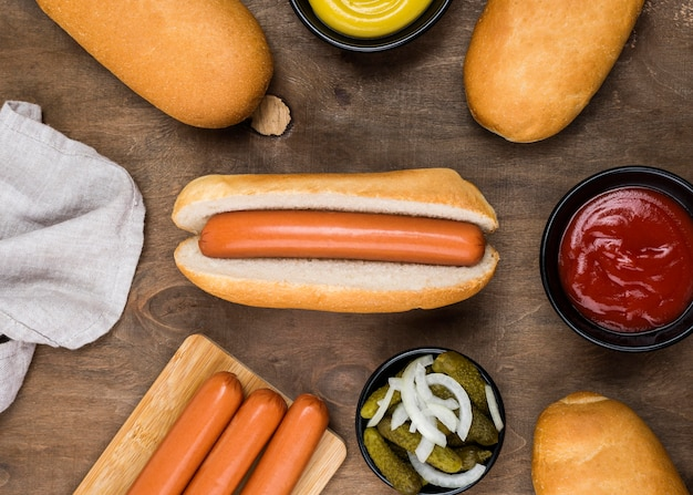 Top view hot dog ingredients