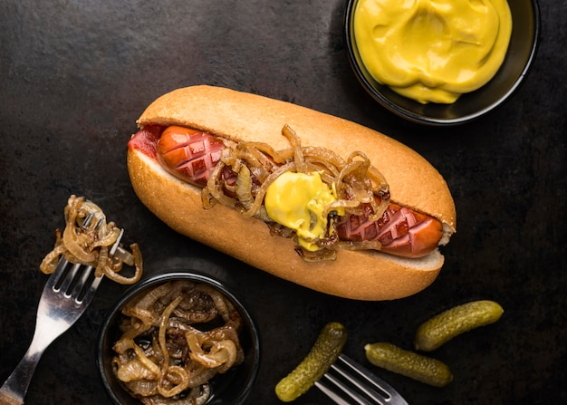 Top view hot dog with mustard