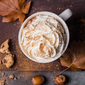 Top view hot drink with whipped cream