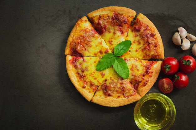 Top view of hot pizza cheese