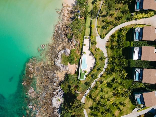 Top view hotel or resort at beach sea.