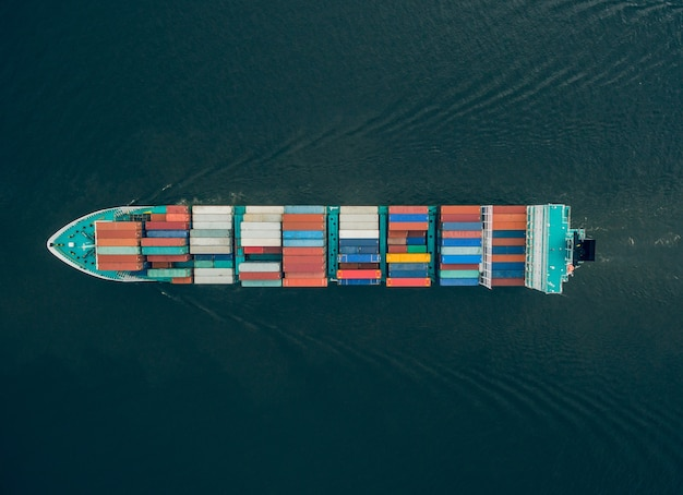 Top view of huge container ship floating in the sea