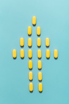 Top view of human shape made out of pills