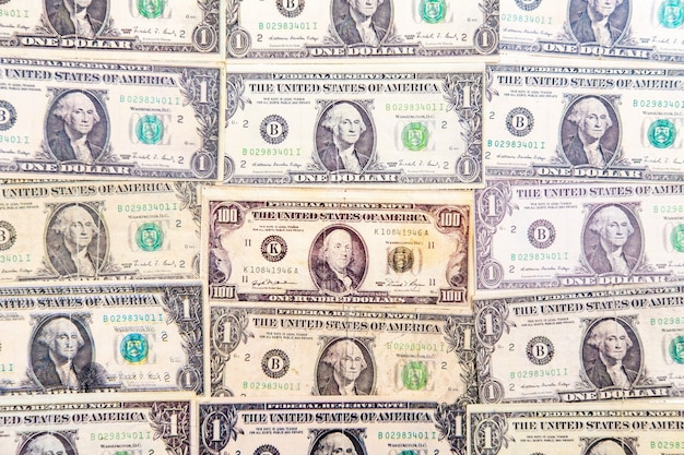 Top view of the hundred and one-dollar bills
