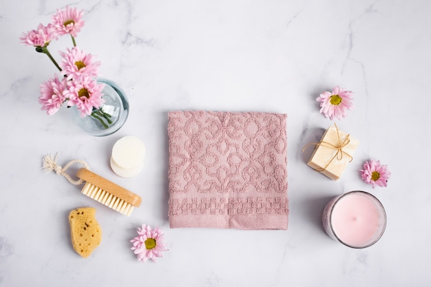 Top view hygiene products on marble table