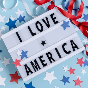 Top view i love america sign with stars