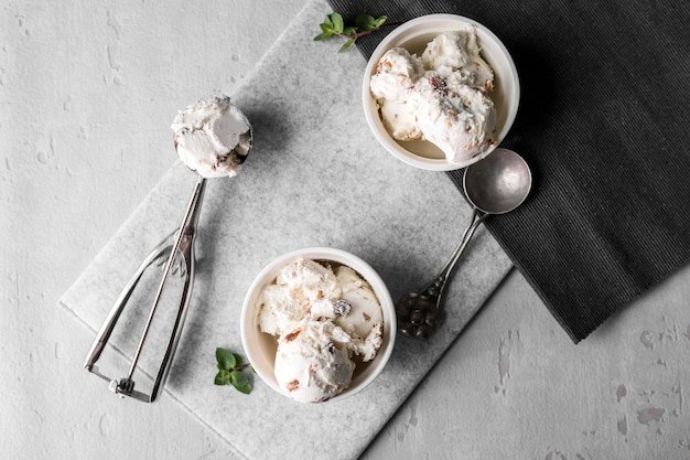 Top view ice cream in bowls