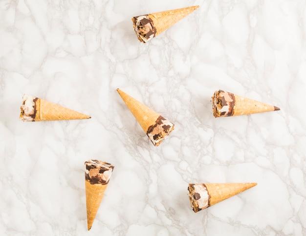 Top view ice cream cone