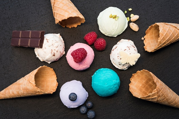 Top view ice cream with fruits