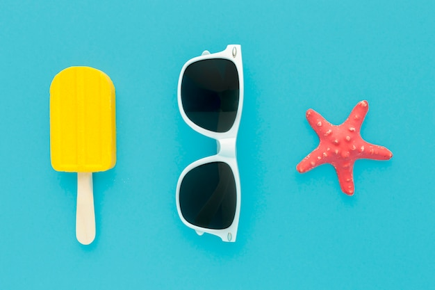 Top view ice cream with summer glasses