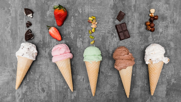 Top view ice creams with fruits