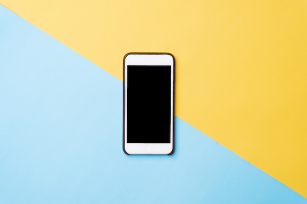 Top view image of blank screen mobile