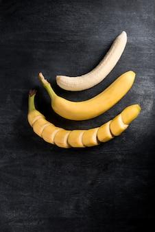 Вид сверху изображение фруктового банана