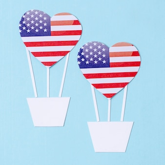 Top view independence day decorations with hearts
