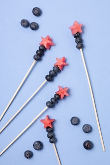 Top view independence day fruit skewers