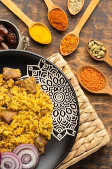 Top view indian food and spices