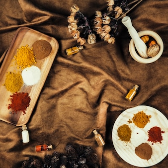 Top view of indian spices on cloth