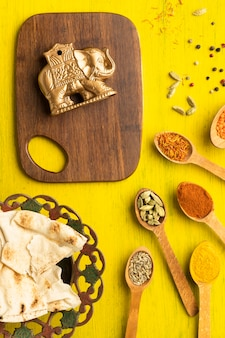 Top view indian spices and small elephant