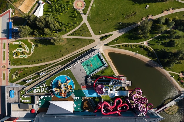 Top view of an indoor water park with slides and a swimming pool in minsk.