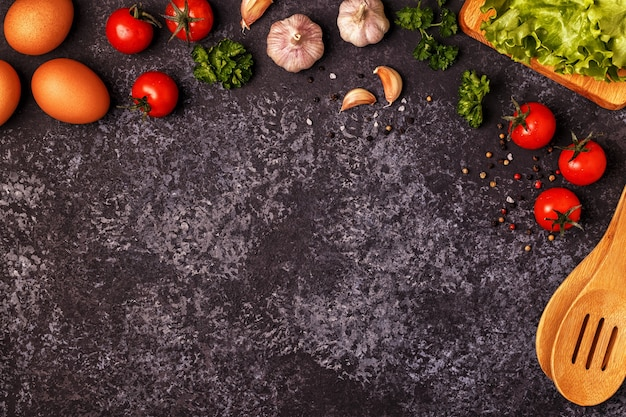 Top view on ingredients for cooking