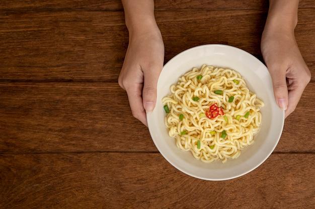 Top view instant noodles