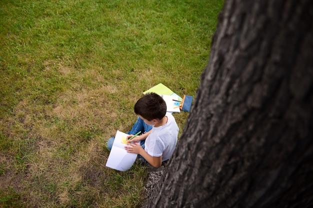 上面図。宿題をしている、コピーブックに書いている、数学の課題を解決している、公園の緑の芝生に座っているインテリジェントな男子生徒。学校に戻って、知識、科学、教育、概念を学びます。